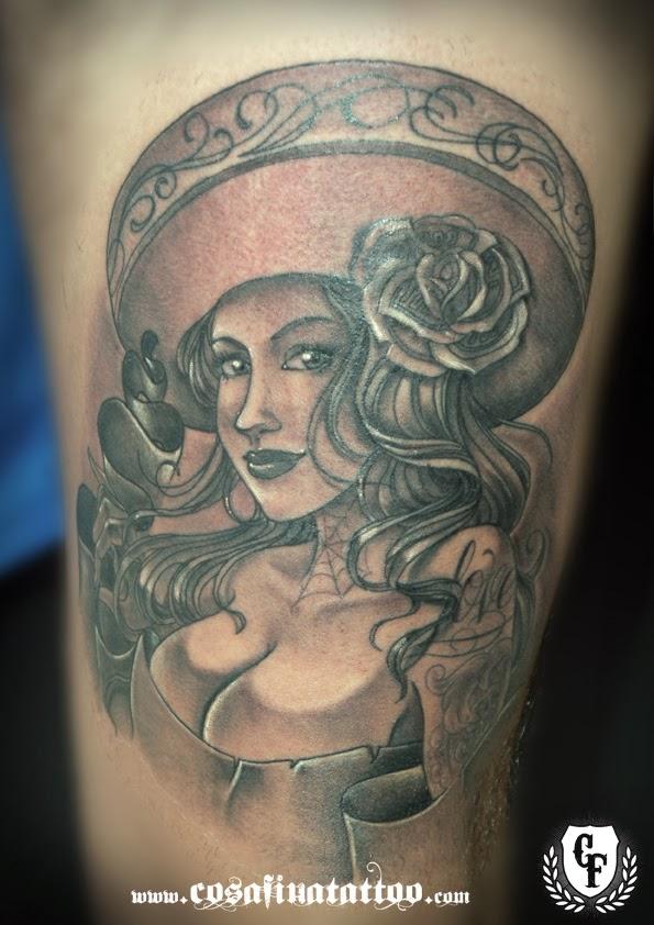 Cosafina tattoo carlos art studio diciembre 2013 for Mexican girl tattoos