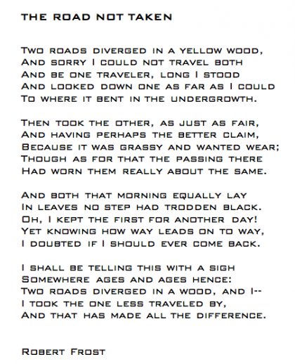 The road not taken by robert frost essay