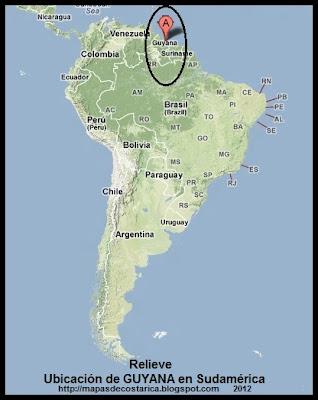 Mapa de Relieve. Ubicación de GUYANA en Sudamérica