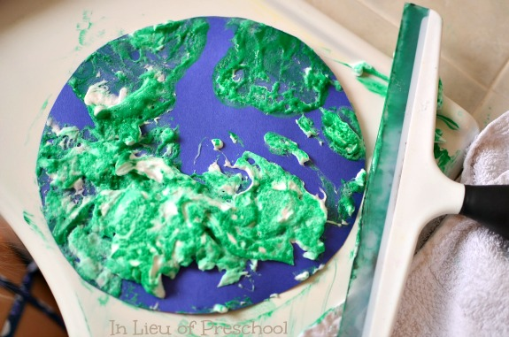 Earth Day shaving cream craft