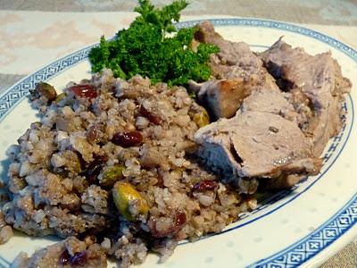 Roast Leg of Lamb with Cranberry-Nut Buckwheat Dressing