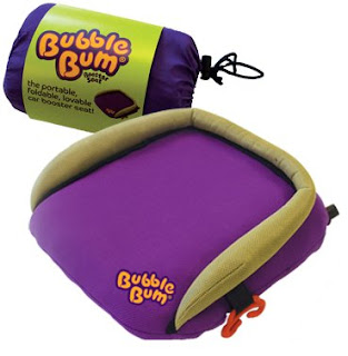 BubbleBum Inflatable Car Booster Seat - rolled for storage and blown up for use