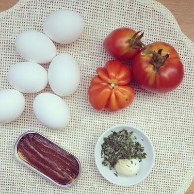 omelette anchois tomates