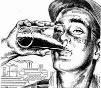 Propaganda da Cerveja Malzbier com indicação de consumo durante o trabalho.