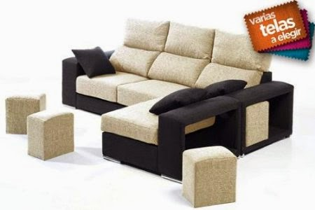 Sof con asientos deslizantes cabezales abatibles puffs for Sofas abatibles baratos