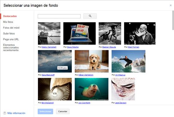 Seleccionar imagen de fondo en Gmail