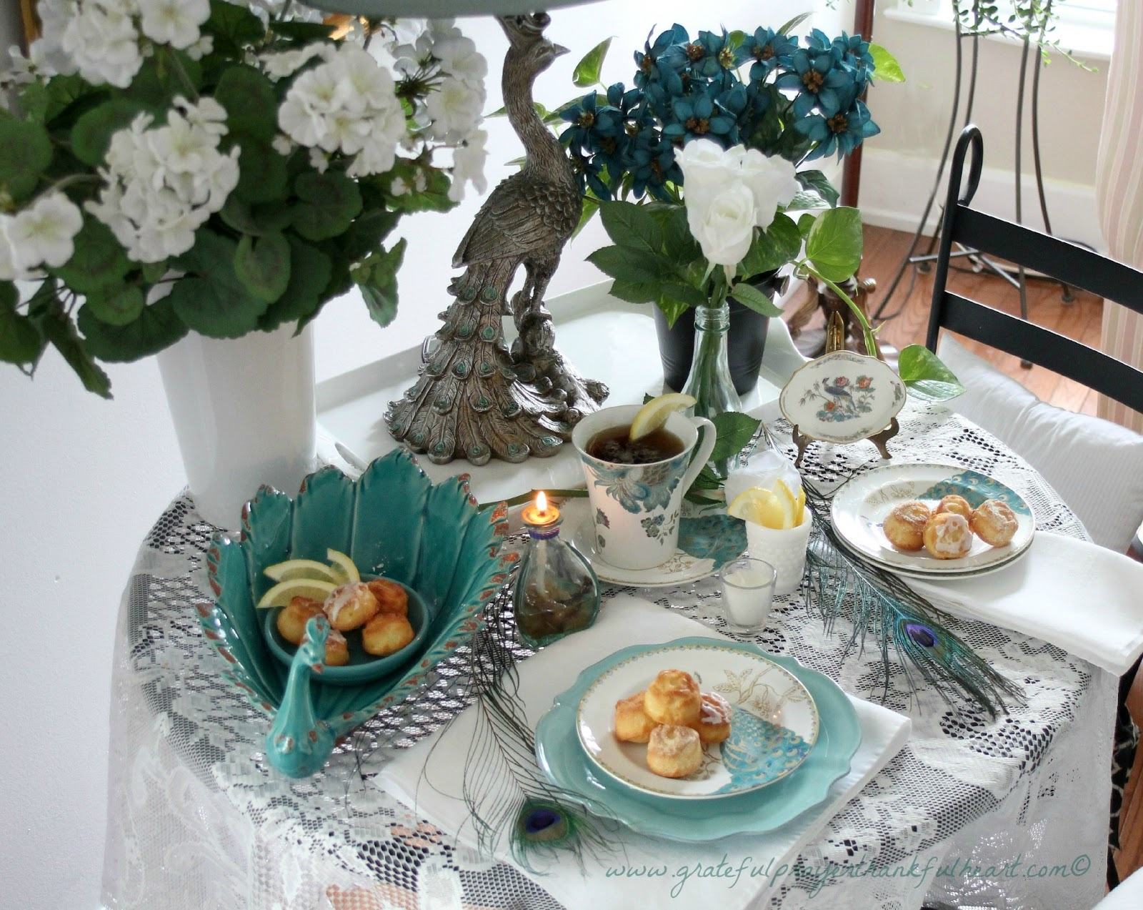 Peacocks And Lemon Flower Teacakes For Tablescape