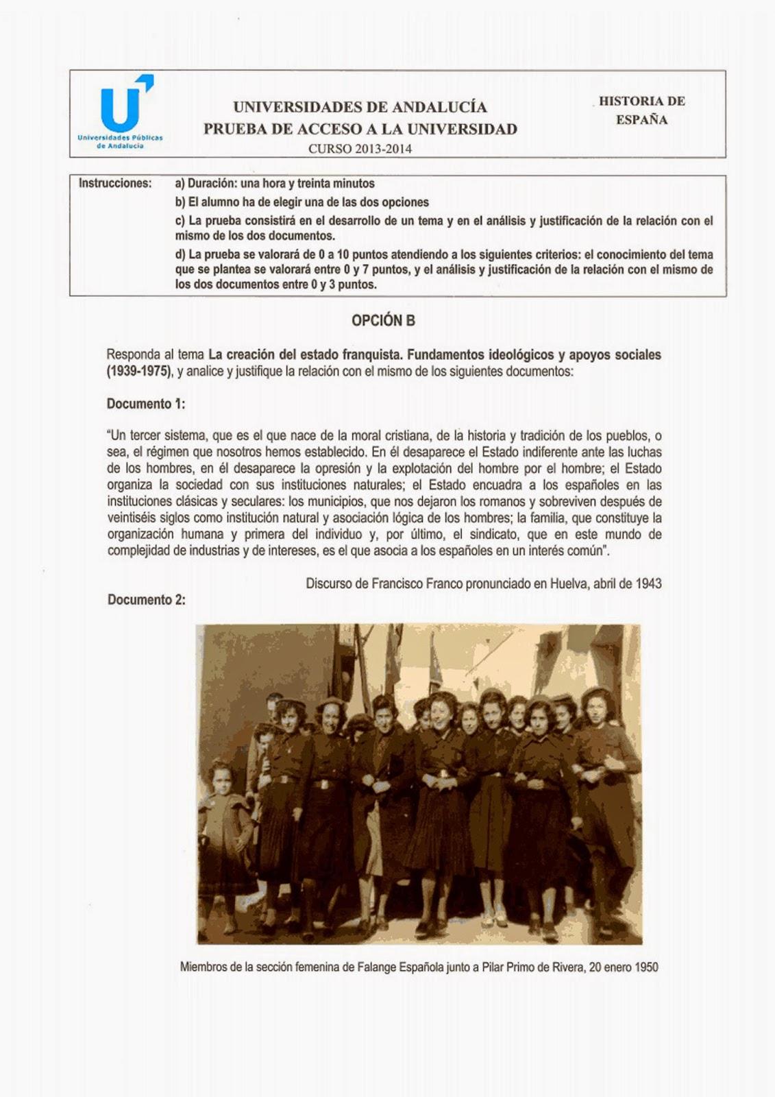PAU Historia de España septiembre 2014 Andalucía Opción B Selectividad