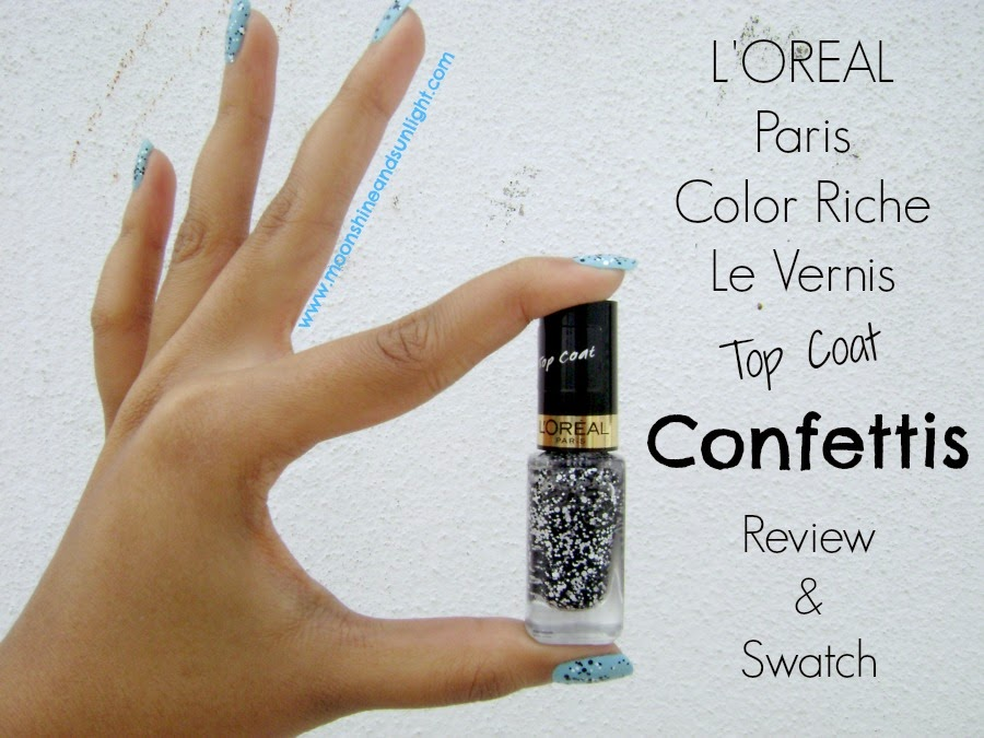 L'oreal Color Riche Le Vernis Top Coat in Confettis Review and Swatch || Simillar to Maybelline Polka dots Clearly spotted?