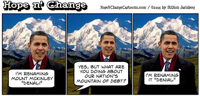 obama, obama jokes, political, humor, cartoon, conservative, hope n' change, hope and change, stilton jarlsberg, alaska, climate change, denali, oil, bear grylls, dog, martha's vineyard
