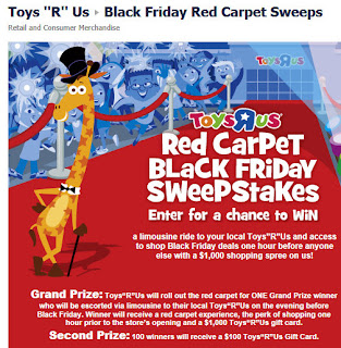 barbara 39 s beat enter the toys r us red carpet black friday sweepstakes. Black Bedroom Furniture Sets. Home Design Ideas