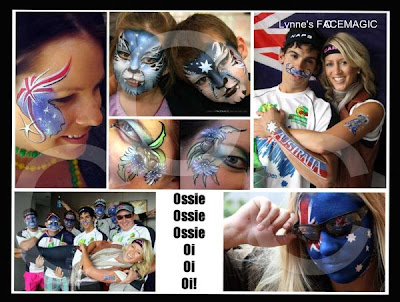 Australia Day face painting fun by Lynne's FACEMAGIC Melbourne