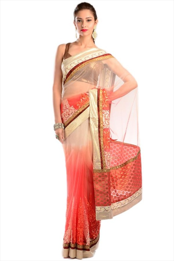 latest Orange Net Saree