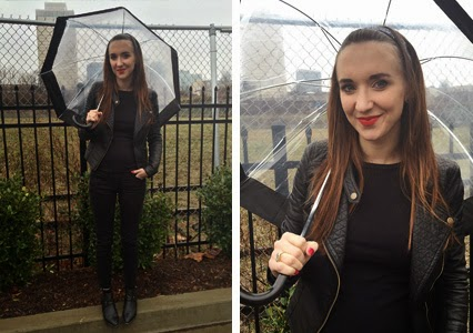 all black outfit, every day wear, everyday clothes, black booties, clear umbrella, clear and black umbrella, nashville fashion, nashville blogger