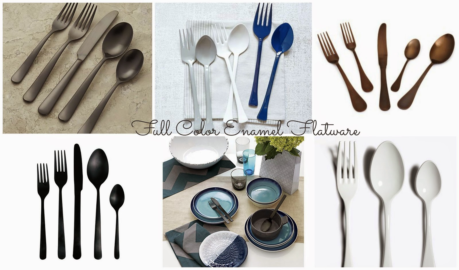 Black Satin Jett Flatware (Crate And Barrel) Enamel Servers (West Elm)  Rocco Brushed Chocolate Flatware (Sur La Table) Oslo Versatile Cutlery Set  In Matte ...