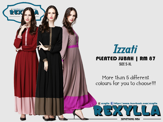 rexylla, jubah, joint colour, pleated, izzati collection