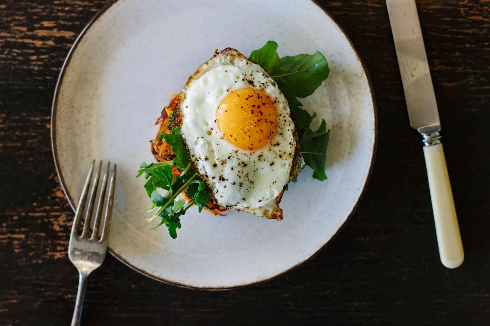 Spiced sweet potato cakes with crispy fried egg recipe + a ...