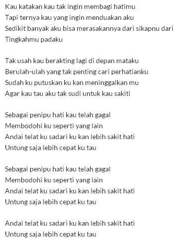 lirik Tata Janeeta – Penipu Hati