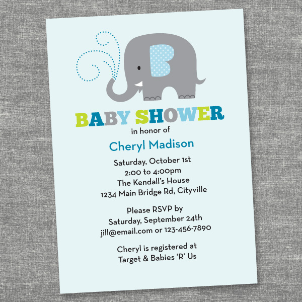 property of kelly sweet elephant baby shower invites