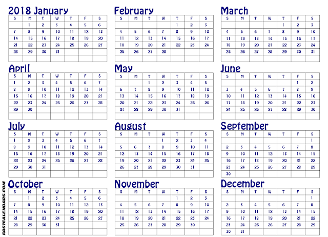 Free Yearly Printable calendar 2018, Download & Editable Templates