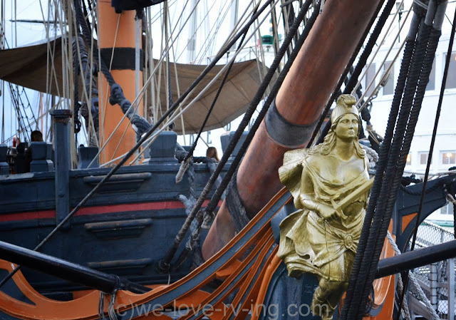 Female figurehead thought to bring good luck, sits on front of the ship.