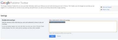 Google publisher toolbar, ads-Overlay