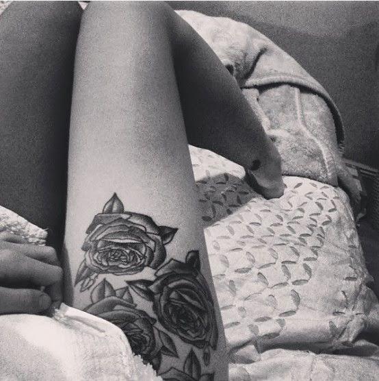 Thigh Rose Tattoo
