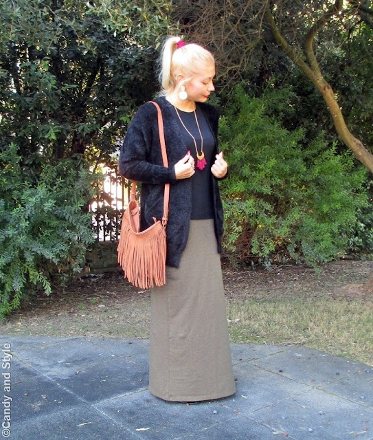 Fuzzy Cardigan, Maxi Skirt and Fringed Bag