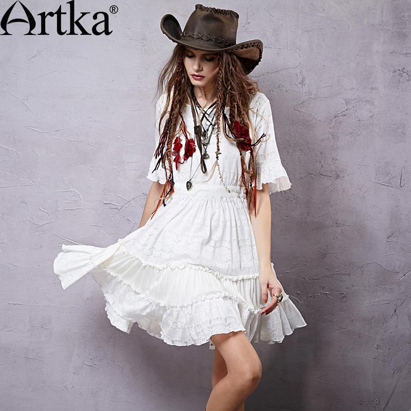 Bohemian style long white dresses