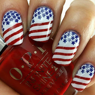 4th of July Nail Stamping Manicure