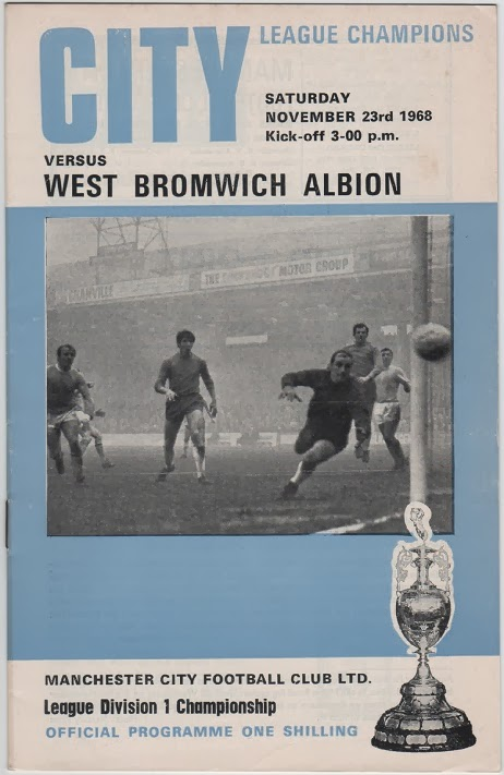 Football Programme for Manchester City v West Bromwich Albion, November 1968