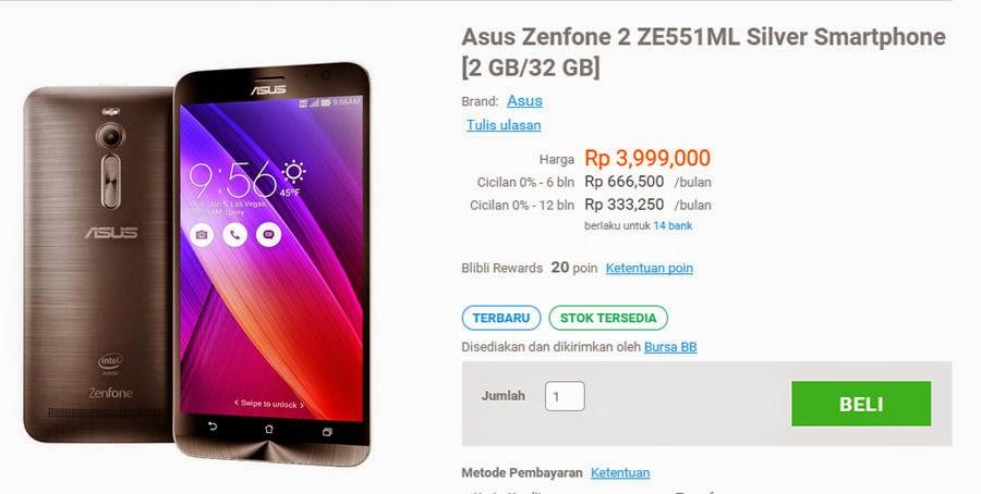 Asus Zenfone 2 versi 2 GB dengan layar 5,5 inch 1080p dijual Rp. 3,999,000 di toko online lokal