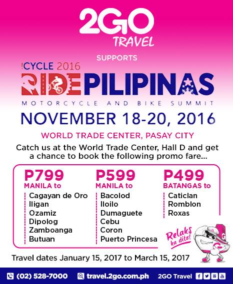 Book promo tickets of 2Go Travel during this NEW Nationwide Sea Sale for September 27 to October 31, !!! This is perfect timing for those who are looking for a cheaper way to go home to the provinces during Undas