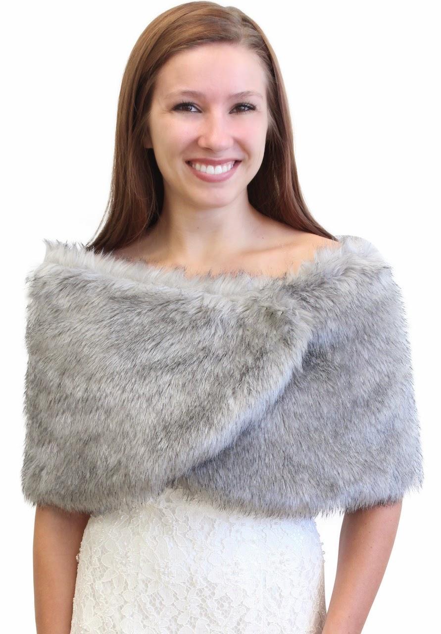 Bridal Fur Stole Shawl Wrap Faux Fur Shrug Faux Fur