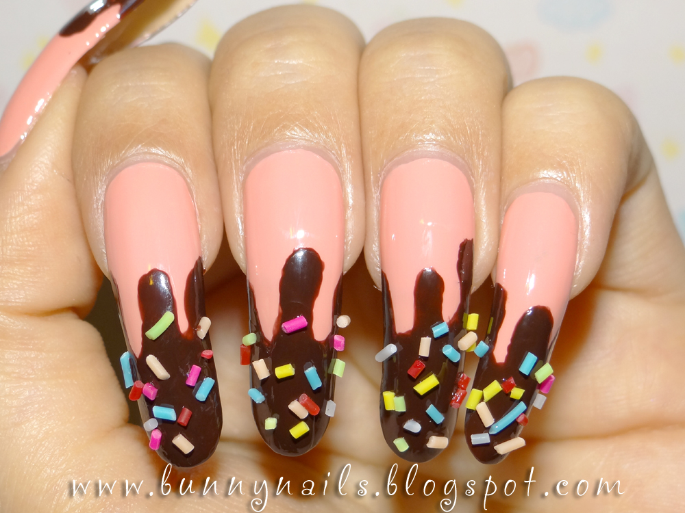 Chocolate dipped w/ Candy Nail Art & How To - Color Nail Polish: Chocolate Dipped W/ Candy Nail Art & How To