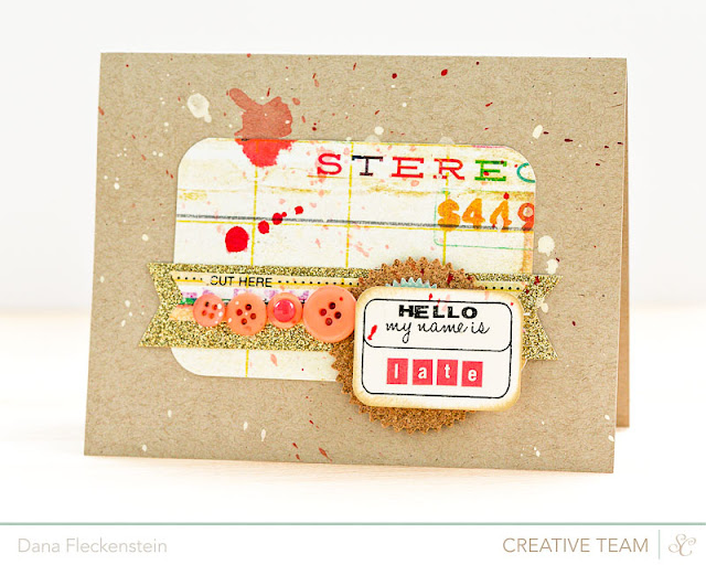 Hello My Name is Late - Handmade card with buttons and glitter tape by @pixnglue
