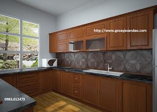 Gỗ xoan đào dùng làm tủ bếp và kệ bếp
