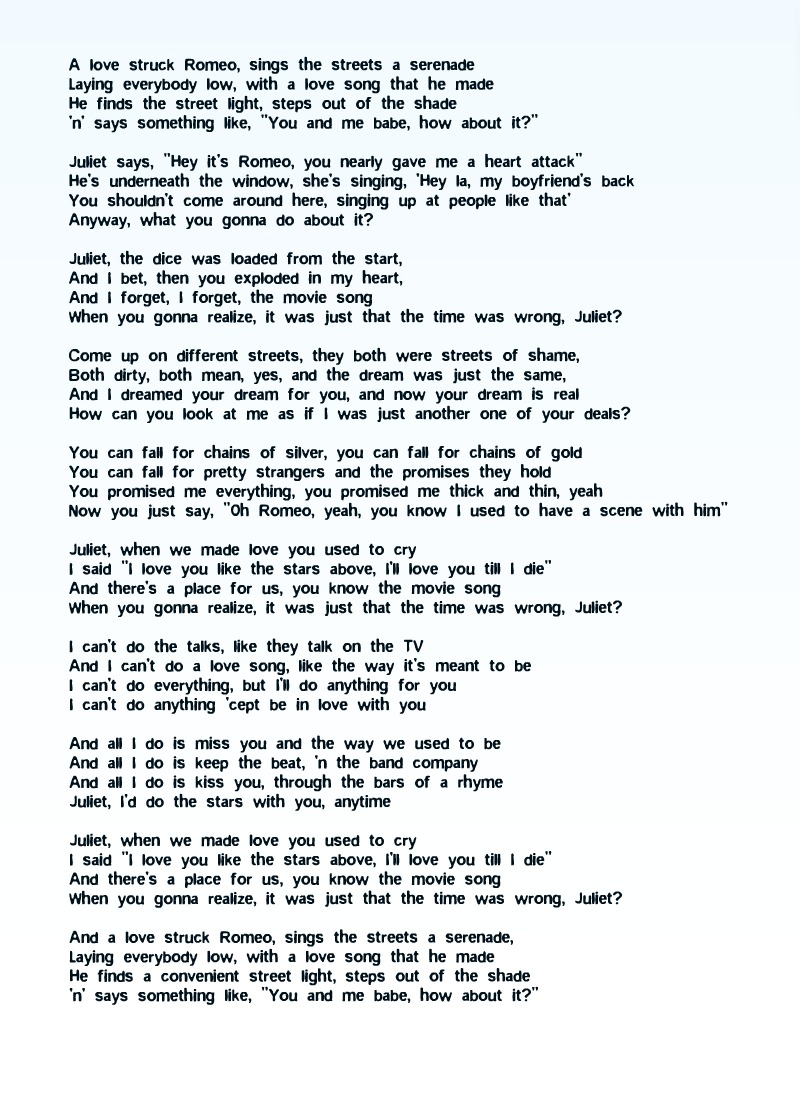 Romeo and juliet straits lyrics