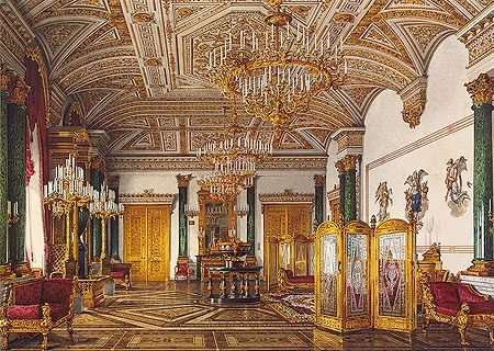 malachite drawing room with candlestick chandeliers in winter palace or hermitage museum in st.petersburg russia