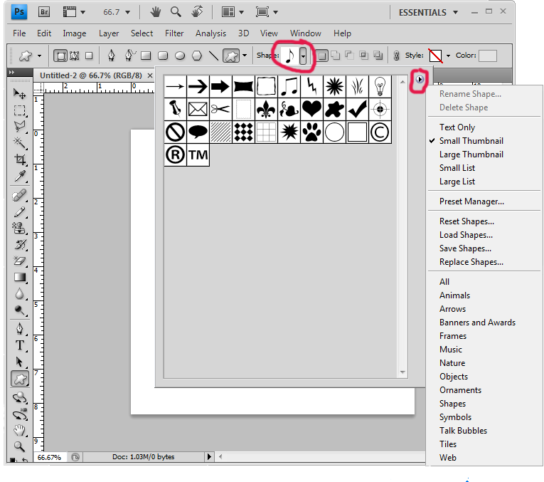 install custom shapes in photoshop step 3