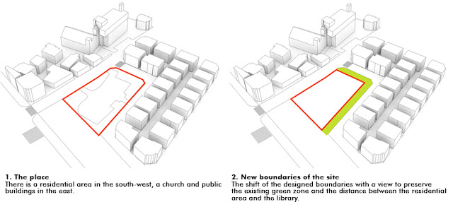 2. New boundaries of the site: The shift of the designed boundaries with a view to preserve the existing green zone and the distance bet ern the residential area and the library_
