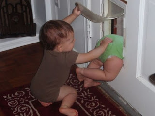 Funny Picture: Baby pushed through door of the mailbox