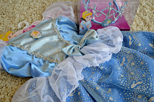 Cinderella dress up costume and tiara from Walmart #DisneyPrinessWMT