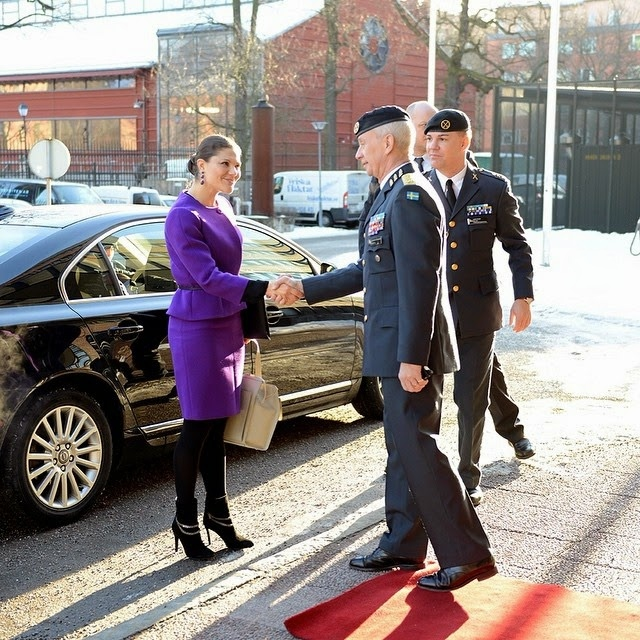 Swedish Crown Princess Victoria visited the premises of the Armed Forces on March 3, 2015 in Stockholm, Sweden
