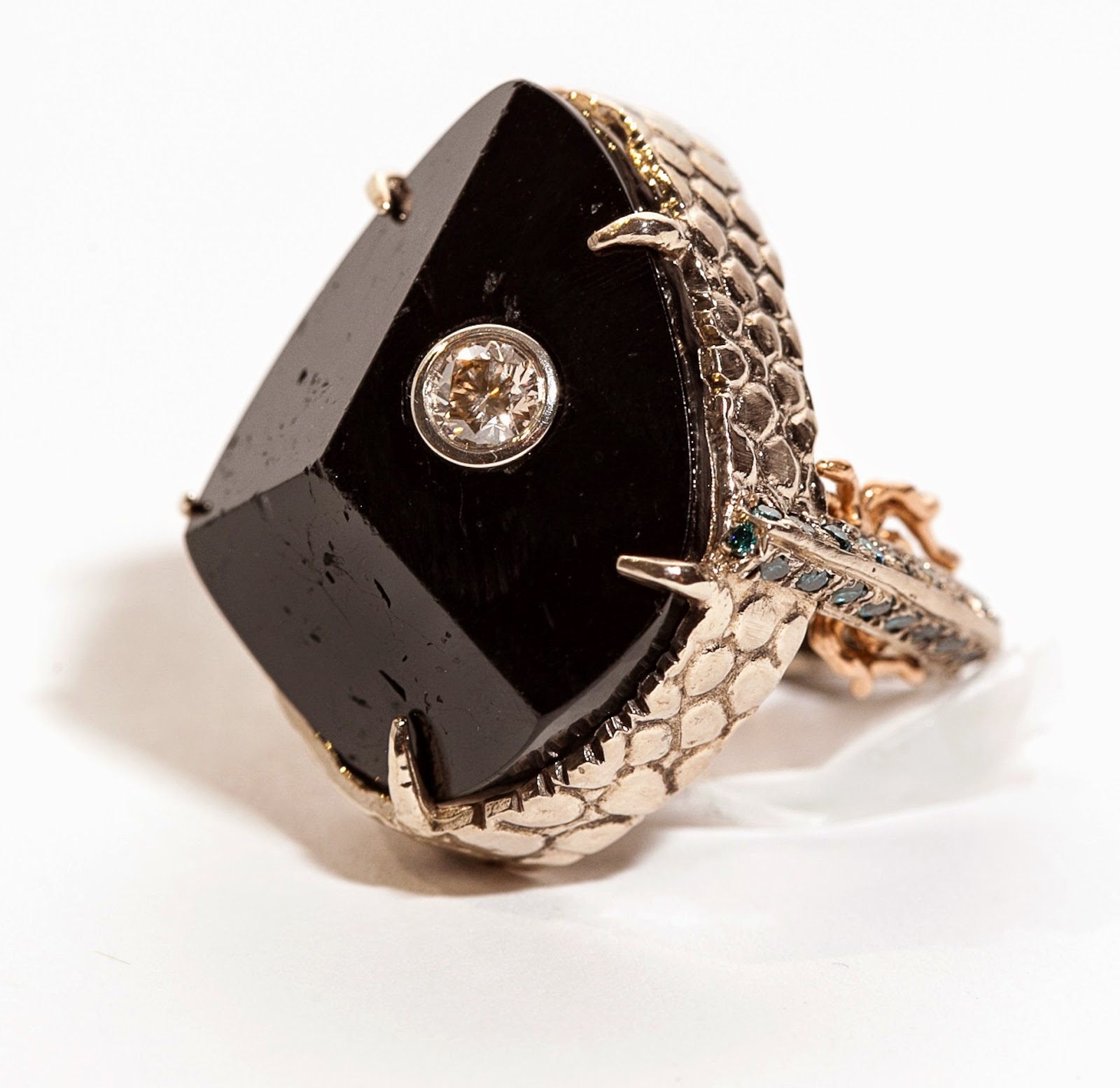 Black Tourmaline w. Blue & Chocolate Diamond Ring