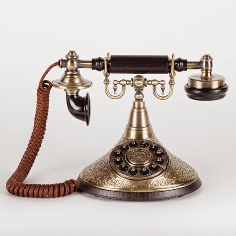 Ретро телефон A1910s из латуни с деревянными вставками со шнуром в тканевой оплетке с функциями современных телефонных аппаратов