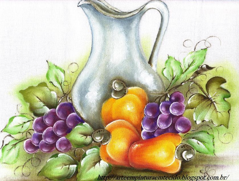 Pintura Em Tecido Frutas Jarra   Cajus E Uvas Pano De Prato