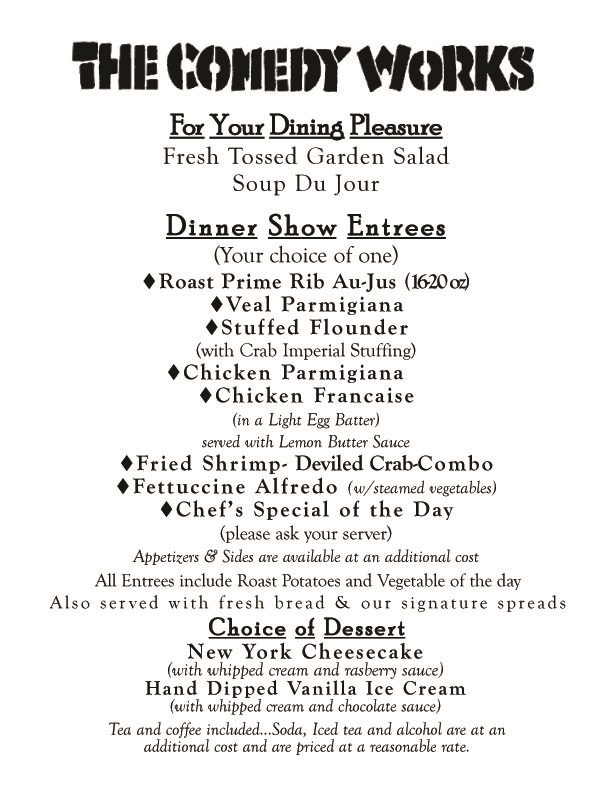 Comedy Works At Georgine'S In Bristol, Pa!: Friday Dinner Menu