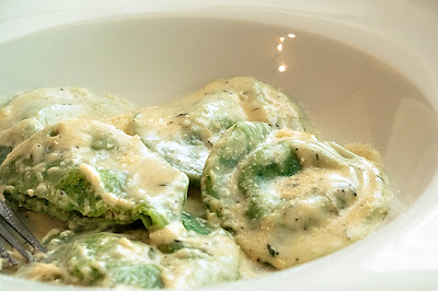 Spinach Ravioli Stuffed w/ Crab & Ricotta