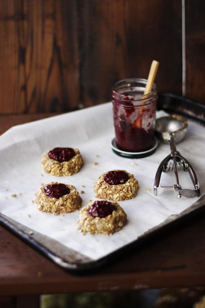 Oat Cashew Thumbprint Cookies